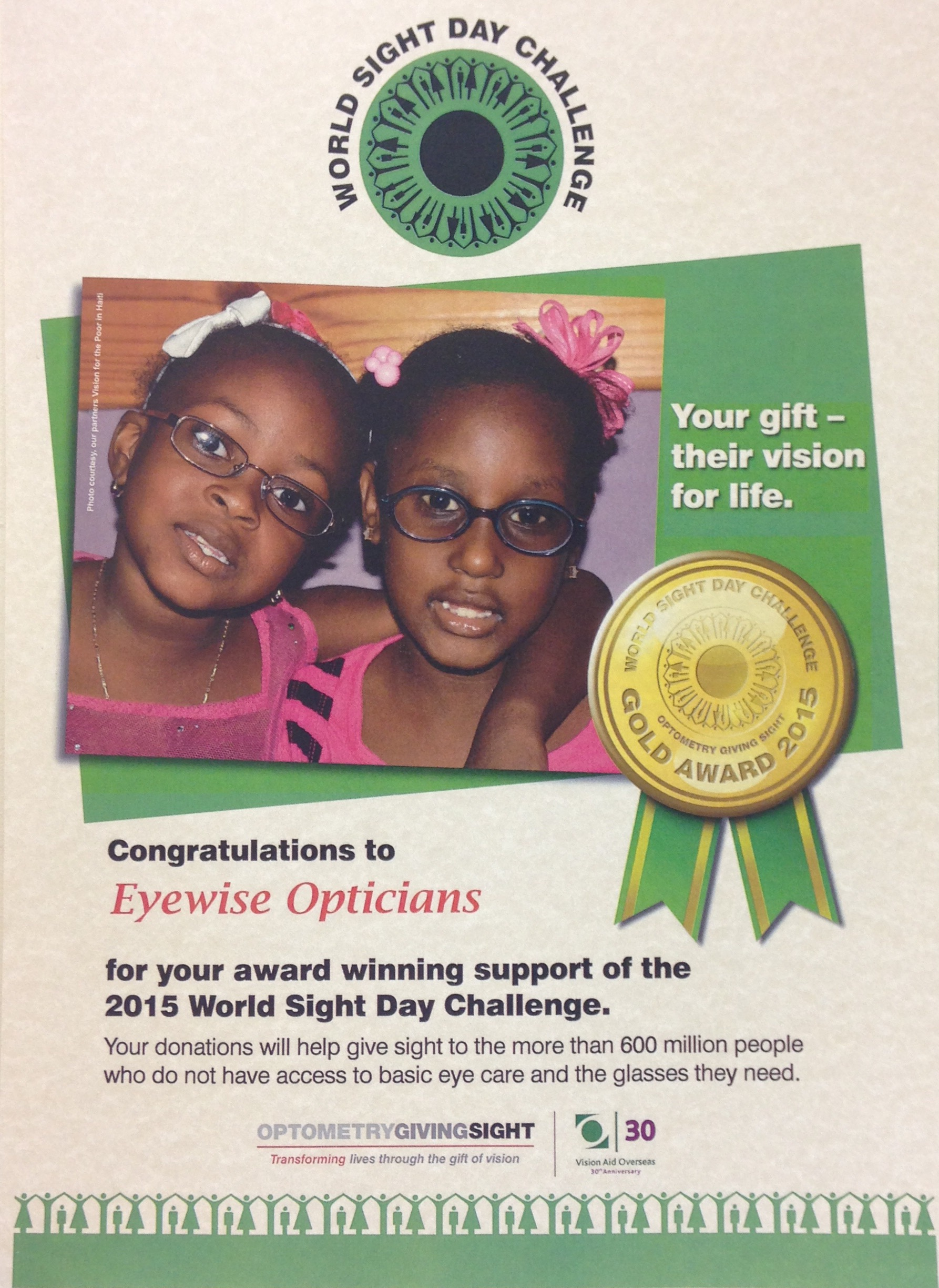 World Sight Day Challenge 2015 gold award poster